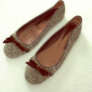 J. Crew 7 wool bow ballet flats tweed shoes dress